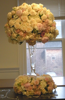 Lush centerpieces for this winter bride…