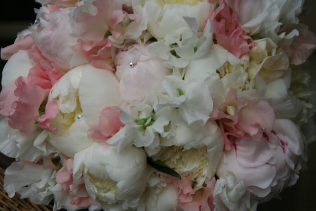 The Bridal Bouquet from one of our Weddings this Weekend (sweet peas and peonies)…