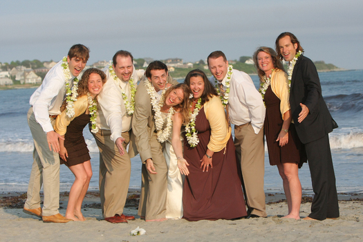 At Sayles Livingston Designs we suggest that leis might be a great alternative to bouquets for a summer wedding like this one at Easton's Beach!