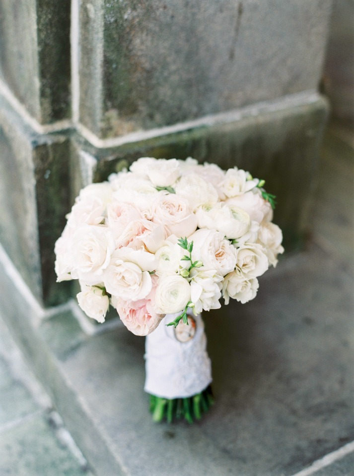 Blush and white rose bouquet
