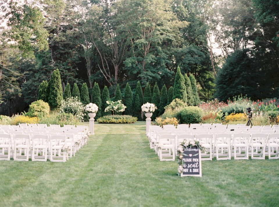 Gorgeous blush and white outdoor ceremony