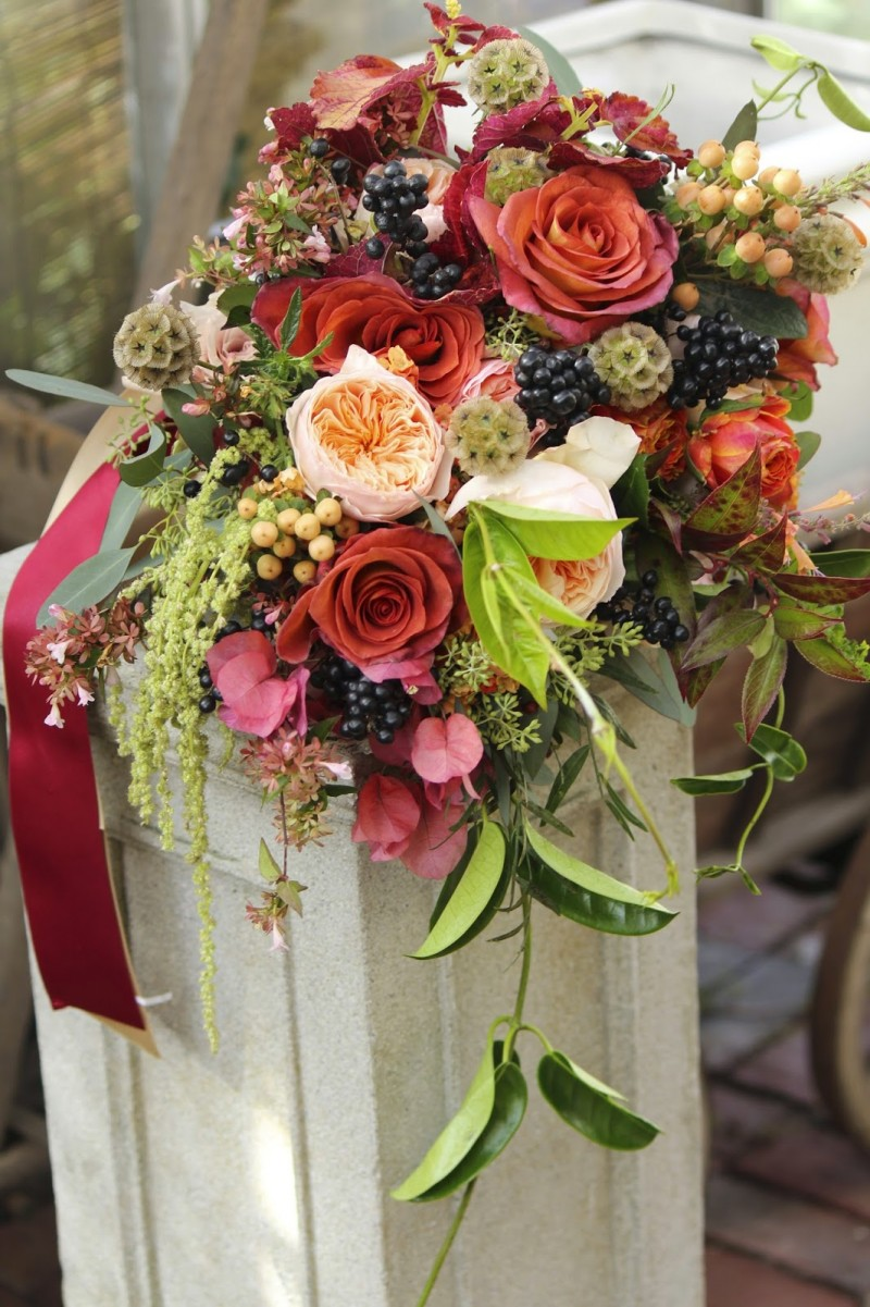Unusual and striking fall bouquet from Sayles Livingston Design!