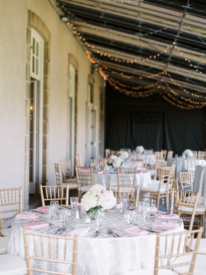 White and blush outdoor reception