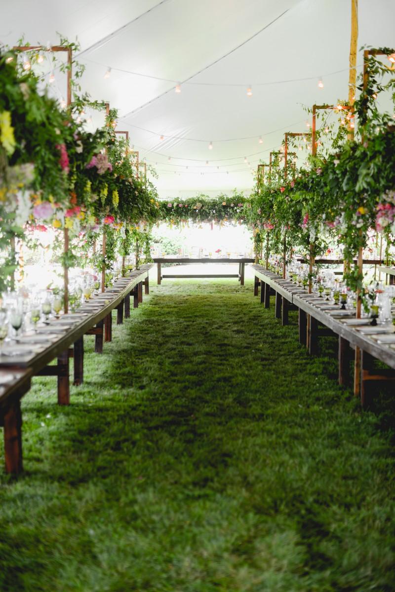 Sayles Livingston Design centerpiece hanging florals