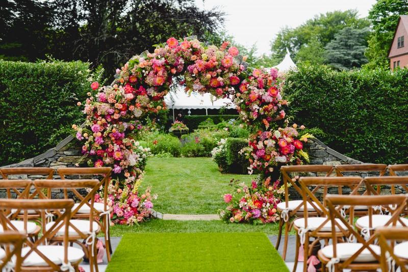 Sayles Livingston Design Ceremony Arch Florals